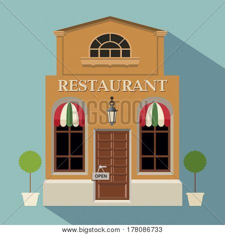 Restaurant Or Cafe Illustration In Flat Style. Isometric Dinner Building With Waitress And Menu Boar