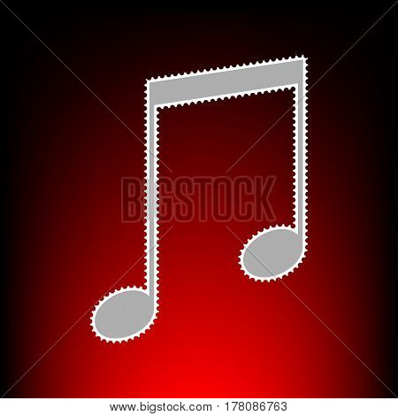 Music sign illustration. Postage stamp or old photo style on red-black gradient background.
