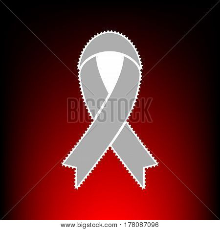 Black awareness ribbon sign. Postage stamp or old photo style on red-black gradient background.