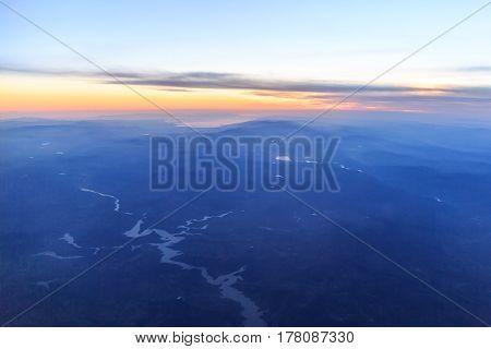 View of Aegean region of turkey from sky
