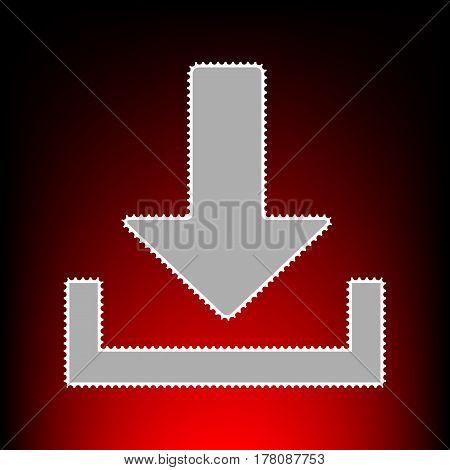 Download sign illustration. Postage stamp or old photo style on red-black gradient background.