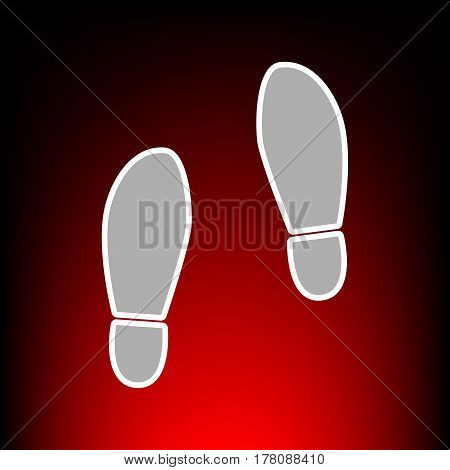 Imprint soles shoes sign. Postage stamp or old photo style on red-black gradient background.
