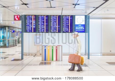 Close Up Of Miniature Businessman And Tourist People In National Airport On White Background.elegant