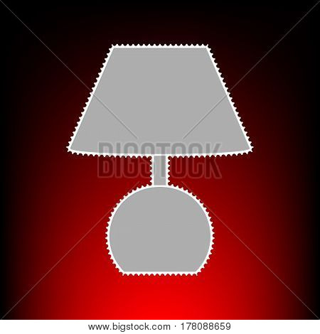 Lamp sign illustration. Postage stamp or old photo style on red-black gradient background.