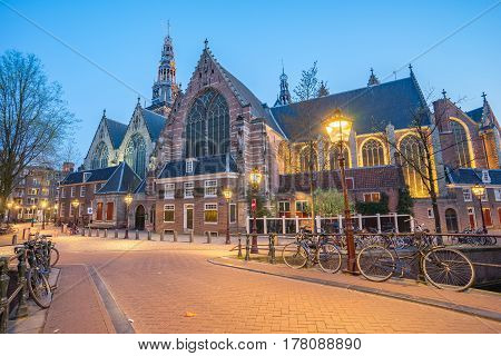 The Oude Churchde Oude Kerk In Amsterdam, Netherlands