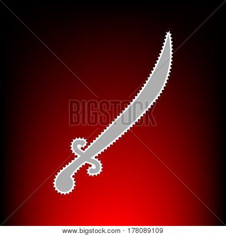 Sword sign illustration. Postage stamp or old photo style on red-black gradient background.