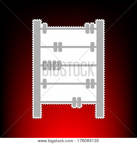Retro abacus sign. Postage stamp or old photo style on red-black gradient background.