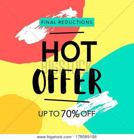 Hot Offer Sale Banner Template Background. Vector Illustration