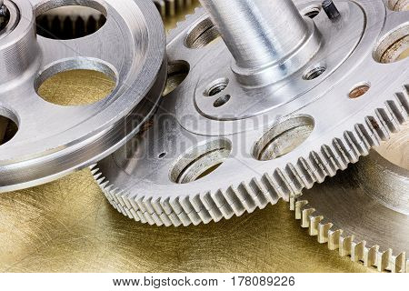 Machinery Gear Cogwheels And Pulleys On Industrial Background