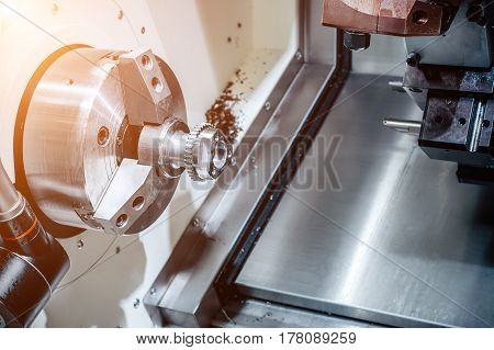 Turning and milling machine. Abstract industrial background.