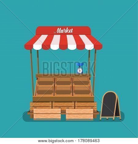 Traditional market empty wooden food stall. Crates and chalk board. Vector illustration in flat style