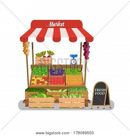 Local vegetable stall. Local market farmer selling vegetables produce on his stall with awning. promote healthy eating concept. Food market. illustration in flat style