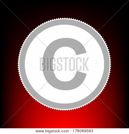 Copyright sign illustration. Postage stamp or old photo style on red-black gradient background.