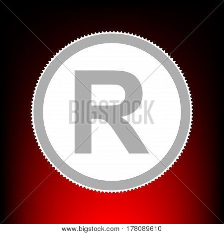 Registered Trademark sign. Postage stamp or old photo style on red-black gradient background.
