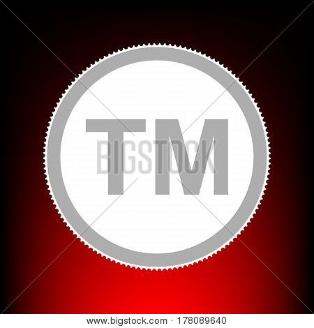 Trade mark sign. Postage stamp or old photo style on red-black gradient background.