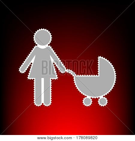 Family sign illustration. Postage stamp or old photo style on red-black gradient background.