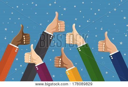 Businessmans hands hold thumbs up. vector illustration in flat design. Financials, work motivation