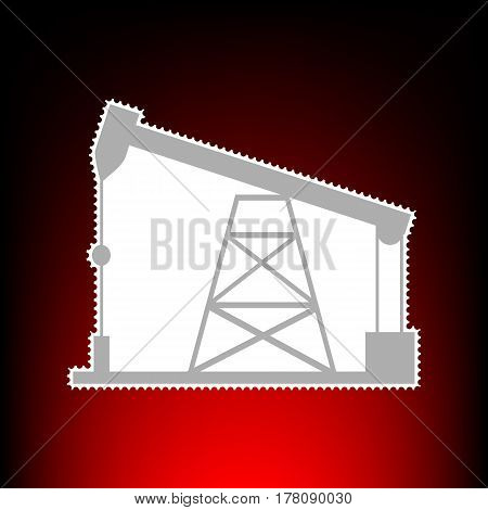 Oil drilling rig sign. Postage stamp or old photo style on red-black gradient background.
