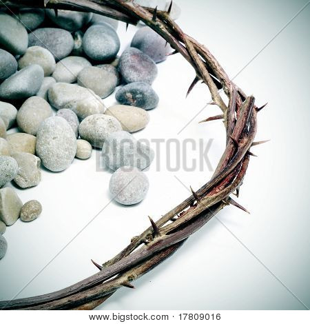 close up of a representation of the Jesus Christ crown of thorns with pebblestones poster
