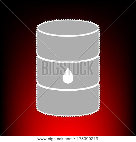 Oil barrel sign. Postage stamp or old photo style on red-black gradient background.