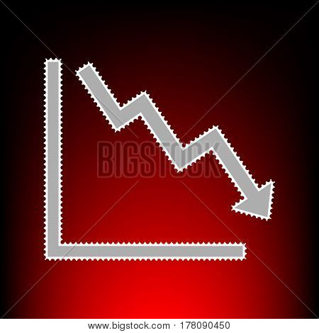 Arrow pointing downwards showing crisis. Postage stamp or old photo style on red-black gradient background.