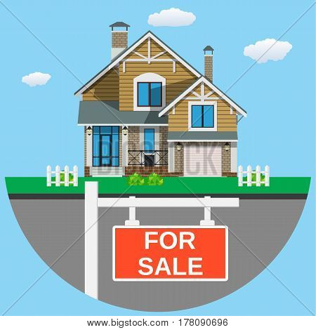 House for sale icon For web design and application interface Real estate. Vector illustration in flat style