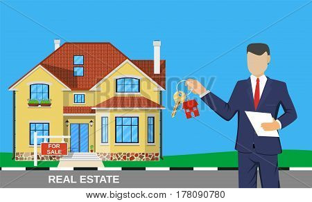 realtor man with key on house . Real estate agent, house building, property home, realtor and rent, sale housing, buy apartment. Vector illustration in flat style
