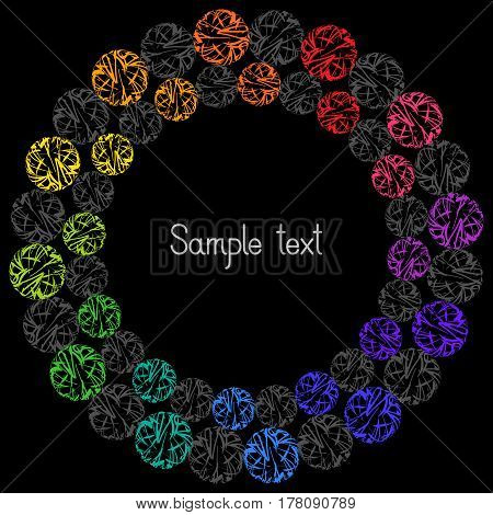 Decorative Colorful Element Circular Frame for Text on Black Background. Abstract Design for Universal Application.