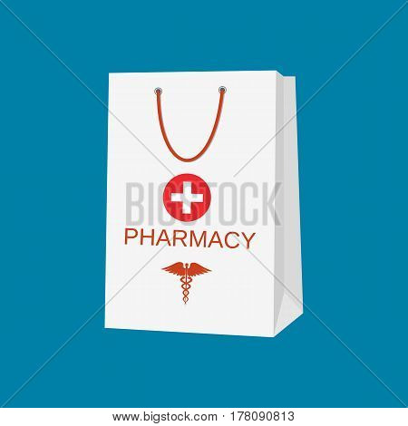 White shopping bag for medical pills and bottles, healthcare and shopping, pharmacy, drug store. Vector illustration in flat style
