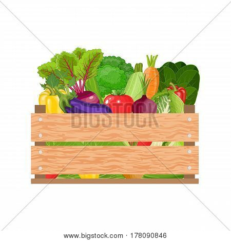 Healthy freshly harvested vegetables in a wooden crate and grocery shopping concept banner. Wooden box with fresh vegetable. Vector illustration in flat style