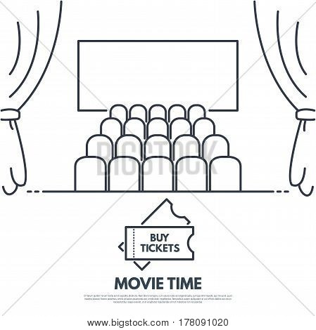 Cinema premiere line style vector. Movie theatre with seats and curtains. Big screen. Black and white simple lines. Banner with text and button.