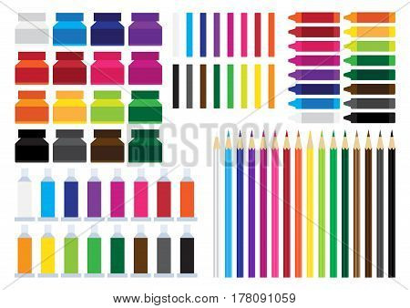 set of color stationary, collection of color painting accessory, artist tools, vector illustration