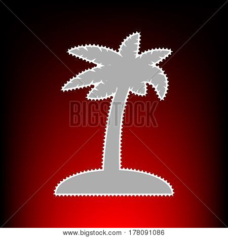 Coconut palm tree sign. Postage stamp or old photo style on red-black gradient background.