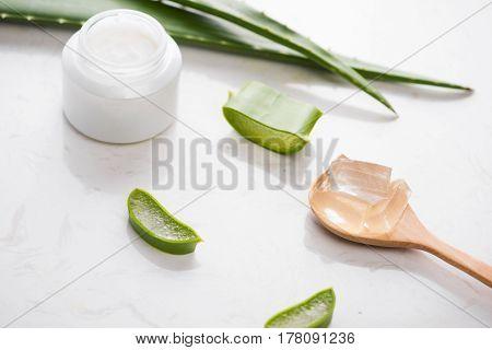 Aloe vera cosmetic cream skin face and body care hygiene moisture lotion.