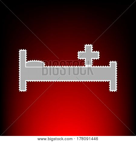 Hospital sign illustration. Postage stamp or old photo style on red-black gradient background.