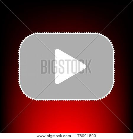 Play button sign. Postage stamp or old photo style on red-black gradient background.