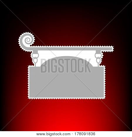 Wrought iron sign for old-fashioned design. Postage stamp or old photo style on red-black gradient background.