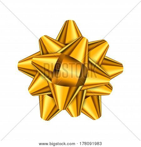 Gold holiday bow on white background. Vector illustration for your design