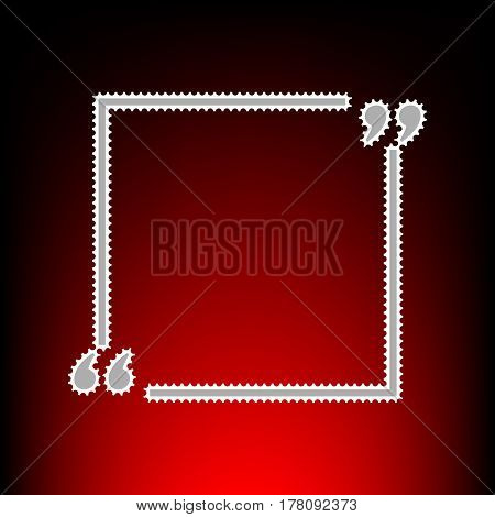 Text quote sign. Postage stamp or old photo style on red-black gradient background.