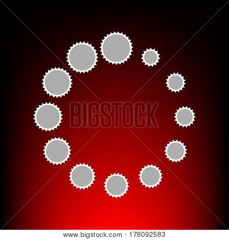 Circular loading sign. Postage stamp or old photo style on red-black gradient background.