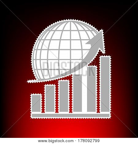 Growing graph with earth. Postage stamp or old photo style on red-black gradient background.