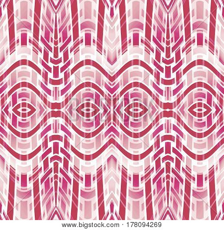 Abstract geometric seamless background. Regular ellipses and stripes pattern dark red, violet, pink and white, curved and modern.