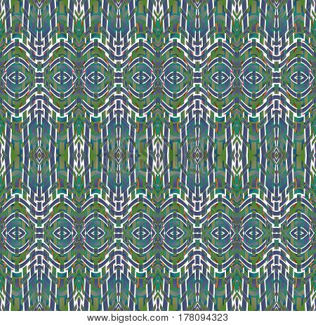 Abstract geometric seamless background. Regular intricate ellipses pattern dark green, olive green, purple and white, ornate and extensive.