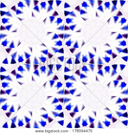 Abstract geometric seamless background. Regular pinwheel pattern white with dark blue, purple and black elements.