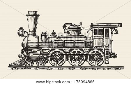 Vintage locomotive. Hand-drawn retro train. Vector illustration
