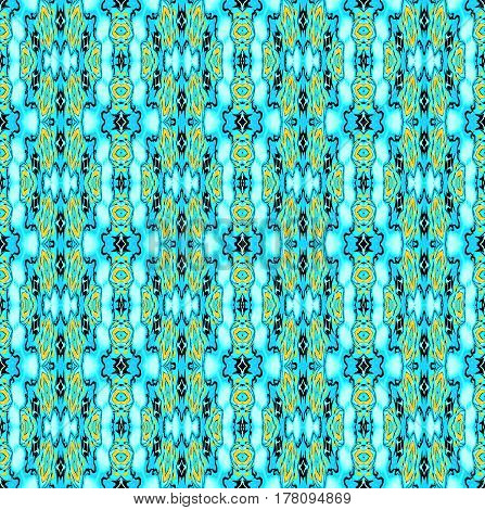 Abstract geometric seamless background. Regular ellipses and diamond pattern with yellow and black elements on turquoise blue, ornate and extensive.