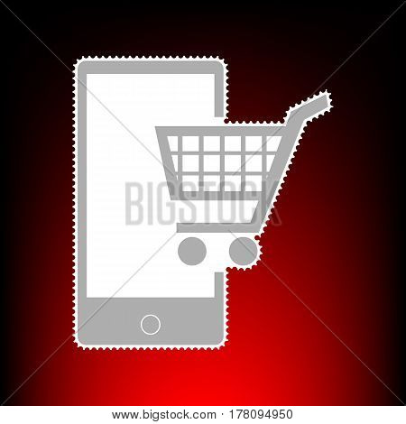 Shopping on smart phone sign. Postage stamp or old photo style on red-black gradient background.