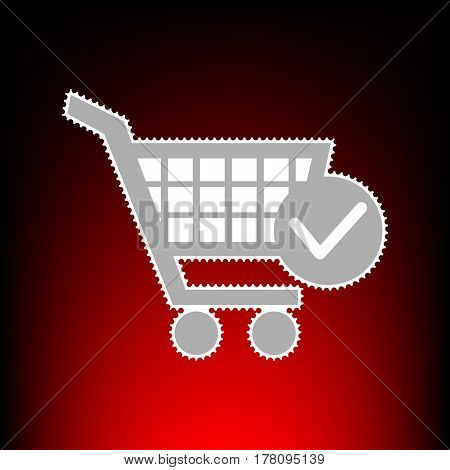 Shopping Cart with Check Mark sign. Postage stamp or old photo style on red-black gradient background.