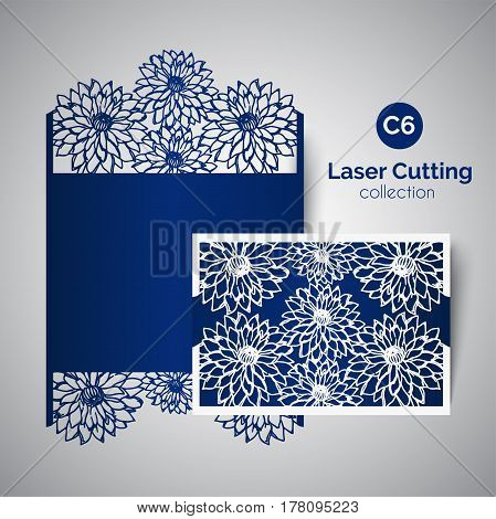 Laser cut wedding invitation. Envelope for cutting with aster flowers. Floral vector panel