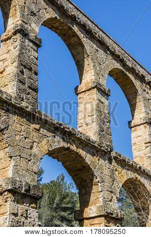 Roman Aqueduct Pont del Diable in Tarragona Spain.